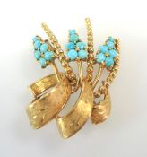 Birks Gold Turquoise Spray Brooch