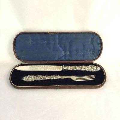 Boxed Cake Knife and Fork Set 1