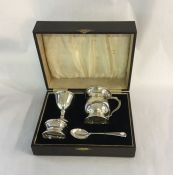 Vintage Boxed Silver Christening Set