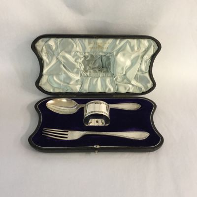 Boxed English Silver Fork  Spoon and Napkin Ring Set - 1