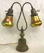 Brass Desk Lamp with Steuben Gold Aurene Bell Shades