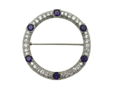 Brooch 18 kt White Gold Diamond and Amethyst 1