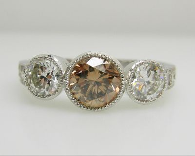 rings solitaire diamond round engagement brown ring shop esqueleto brilliant