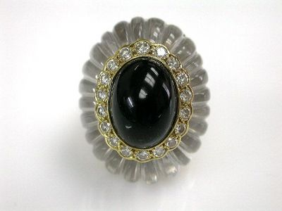 Ring Black Onyx Rock Crystal and Diamond