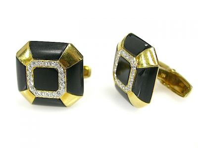 Cufflinks Onyx and Diamond