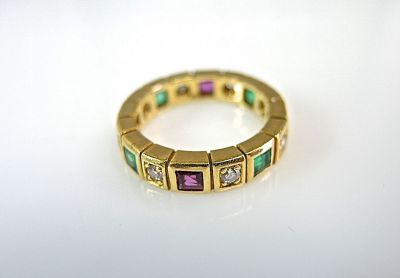 Emerald and Ruby Eternity Band