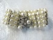 Vintage Four Strand Pearl and Diamond Bracelet