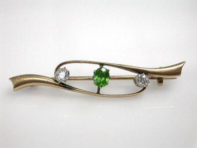 Green Garnet and Diamond Brooch