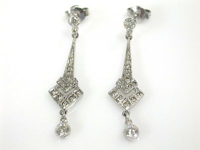 Art Deco Inspired Diamond  Drop Earrings