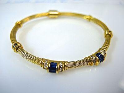 Blue Sapphire and Diamond Bracelet