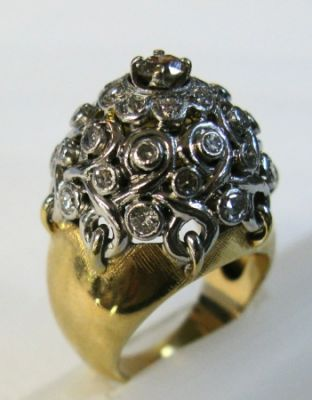 Domed Diamond Cluster Ring