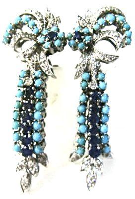 Sapphire Diamond and Turquoise Drop Earrings