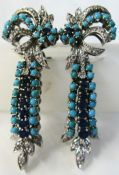 Sapphire Diamond and Turquoise Drop Earrings
