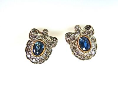 Vintage Style Sapphire and Diamond Stud Bow Earrings