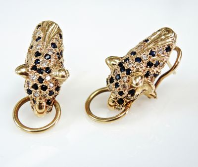 Cartier Inspired Sapphire Diamond Ruby Panther Earrings