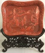 Carved Cinnabar Tray With Original Fitted Stand