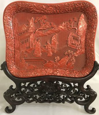 Carved Cinnabar Tray With Original Fitted Stand b