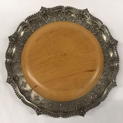 Challah Board Silver Plate and Maple Wood by T & Co