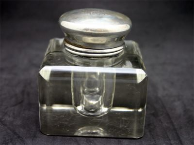 Charming Glass Inkwell with Sterling Top 1 Cynthia Findlay Antiques