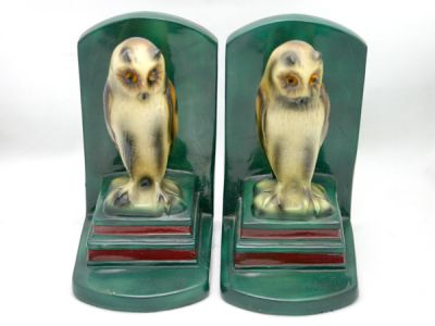 Charming Porcelain Owl Bookends 1 Cynthia Findlay Antiques