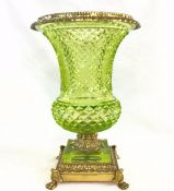 Chartreuse Colour Cut Crystal Vase With Brass Mounts