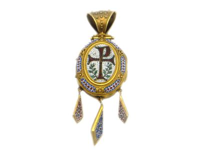 Antique Chi-Rho 18kt Gold Micro Mosaic Locket
