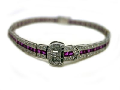 Christmas Jewellery/Gorgeous Ruby and Diamond Buckle Motif Bracelet 45034 1 Cynthia Findlay Antiques