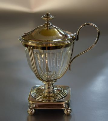 Christofle Silver Plate Mustard Pot with Clear Glass Liner