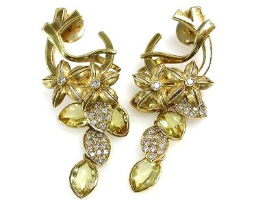Modern Citrine and Diamond Earrings