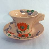 Clarice Cliff Hand Painted Bizarre Damask Rose Cup & Saucer
