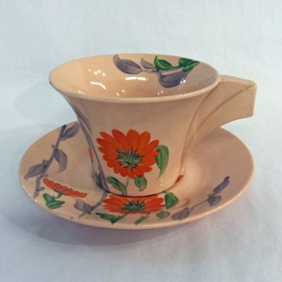 Clarice Cliff hand painted Bizarre Damask Rose pattern cup and saucer 2