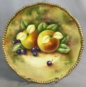 "Coalport Hand Painted Cabinet Plate in a ""Fruit and Berries"" Pattern"