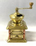 Continental European Antique Brass And Copper Coffee Grinder