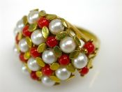 Coral and Pearl Cluster Ring