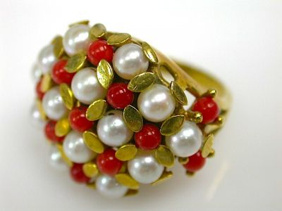 Coral and Pearl Ring CFA1310233