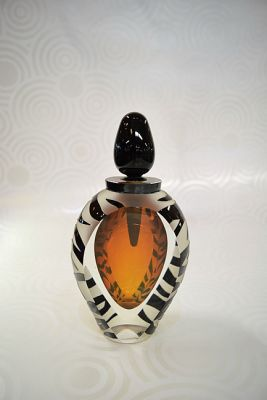 Correia Art Glass Perfume  Amber and Clear Glass with Black Stripes  Limited Edition  343 of 500