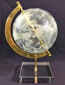 Crystal Globe On Brass Frame