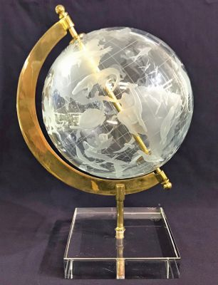 Crystal Globe On Brass Frame 3