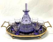 Czech Art Deco Amethyst Glass Decanter and Glasses on Tray