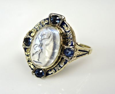 Dancing Greek Goddess Moonstone Intaglio and Sapphire Ring