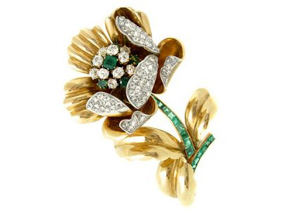 Diamond and Emerald Yello Gold Floral Brooch  DPi002 REVISED