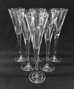 """Discontinued Waterford Champagne Flutes, """"Siren"""" Pattern"""