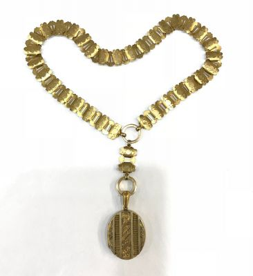 Double Picture Silver Gilt Victorian Locket With Bookchain c
