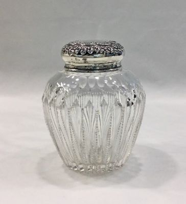 Dresser Jar, Sterling Silver and Cut Crystal Repoussé Lid
