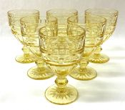 """Early Vintage """"Hermitage Topaz"""" Depression Glass Water Goblets"""