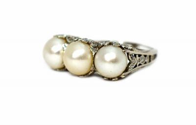 Edwardian Cultured Pearl and Diamond Ring