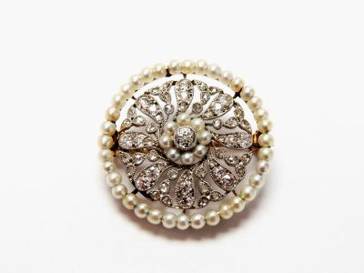 Edwardian Diamond and Pearl Brooch