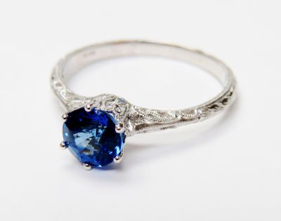 Edwardian Inspired Sapphire Solitaire Ring