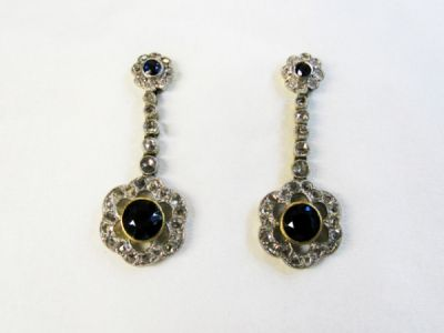 Edwardian Sapphire and Diamond Drop Earrings
