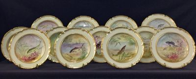 Edwardian Copeland Spode Fish Service For 12 h